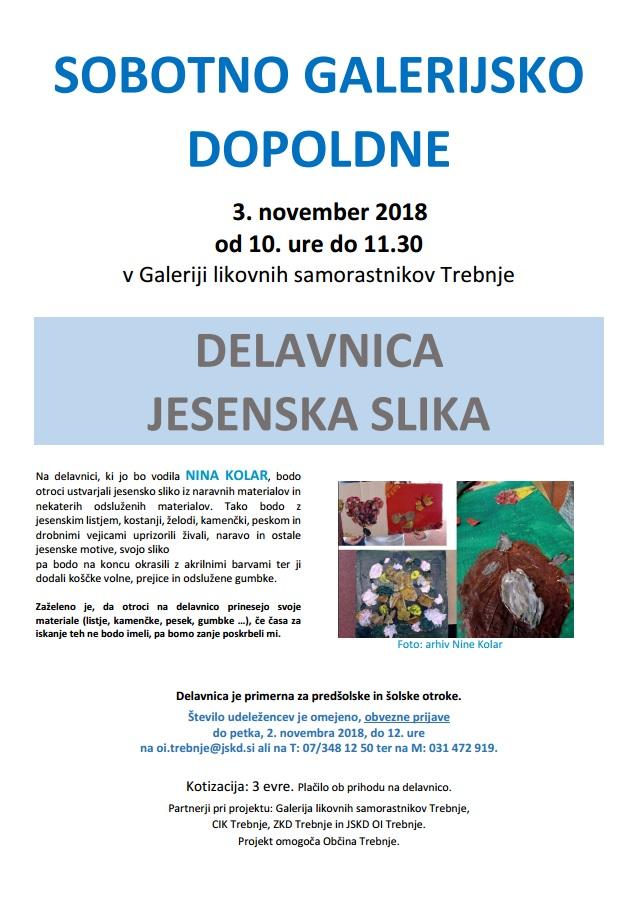 Sobotno Galerijsko Dopoldne Delavnica Jesenska